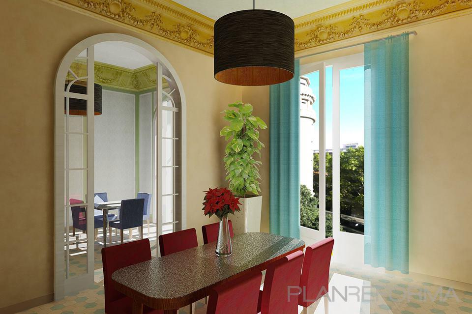 Salon Estilo clasico Color rojo, marron, turquesa, azul cielo ...