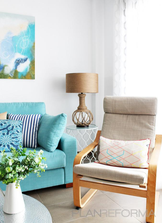 Salon style mediterraneo color marron azul cielo azul - Salon mediterraneo ...