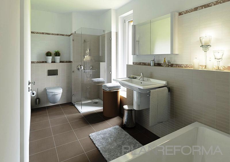 Baños Beige Con Blanco:Baño style moderno color marron, beige, blanco diseñado por Proynova