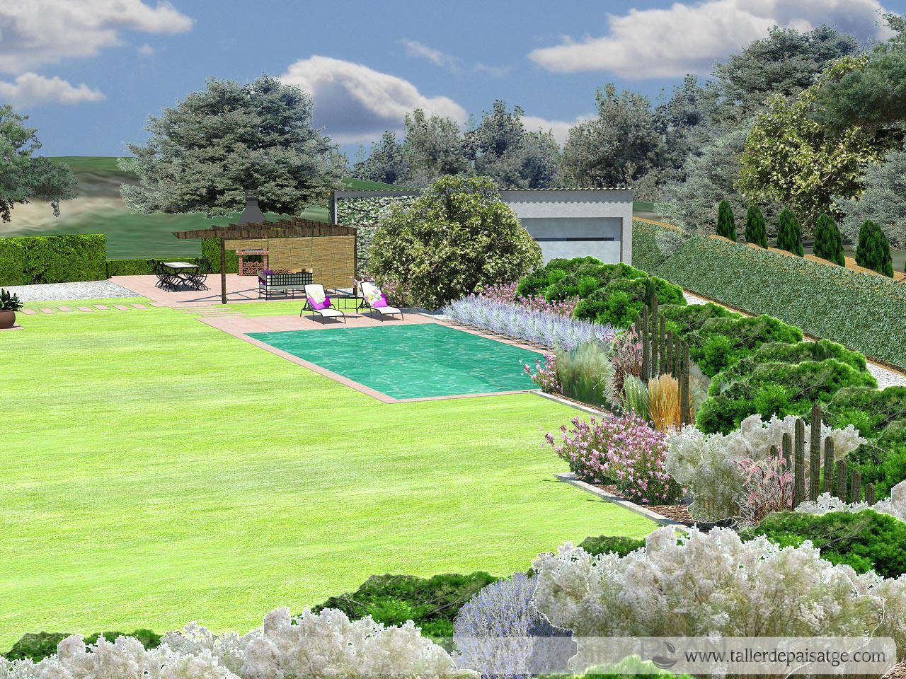 Piscina exterior jardin estilo rustico color verde for Ideas piscinas jardin