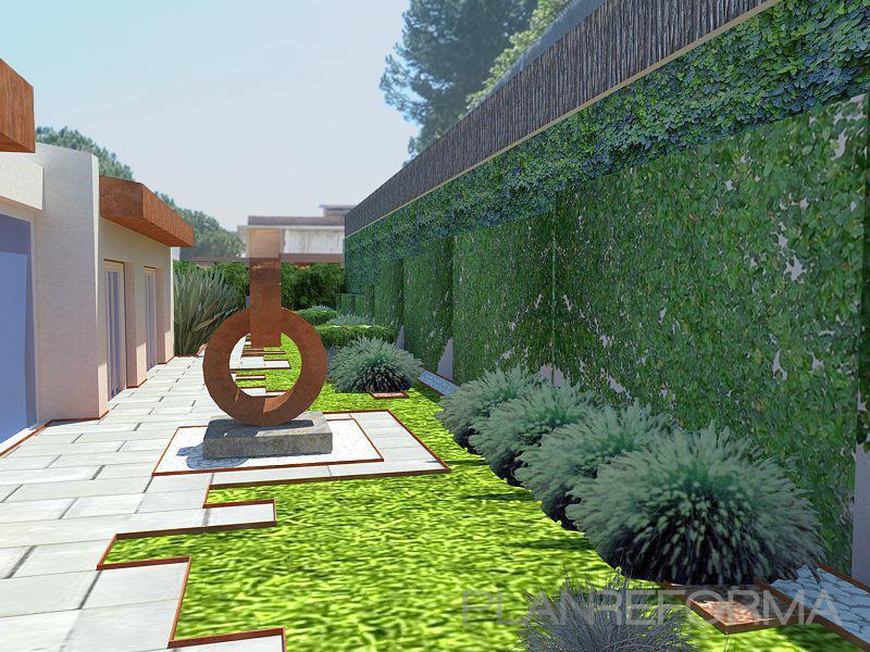 Patio exterior jardin style mediterraneo color verde for Paisajismo de patios