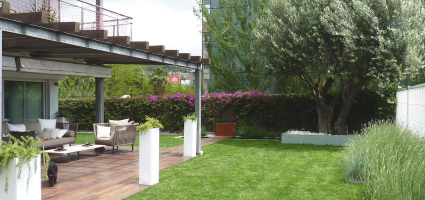 Porche, Exterior, Jardin Estilo contemporaneo Color verde, azul, plateado  diseñado por Eva Vidal Mateu - Taller de Paisatge | Paisajista