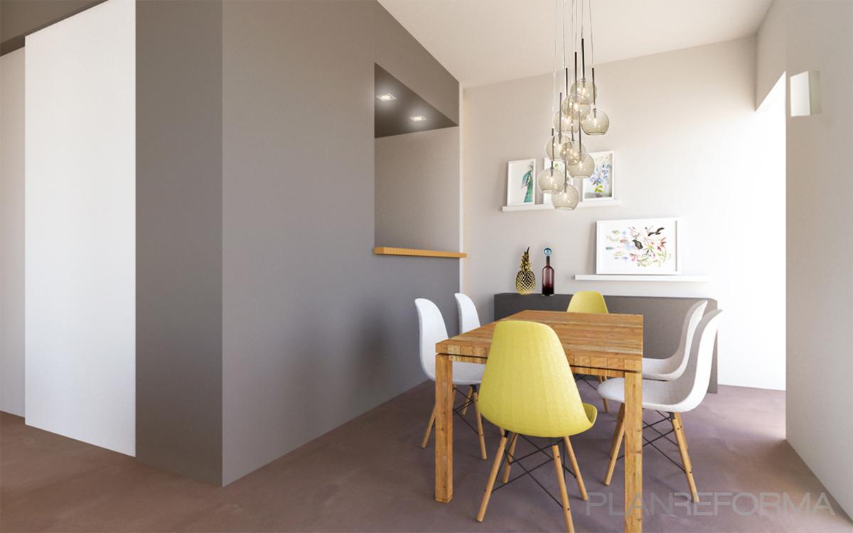Comedor cocina style moderno color amarillo blanco gris for Comedor moderno blanco