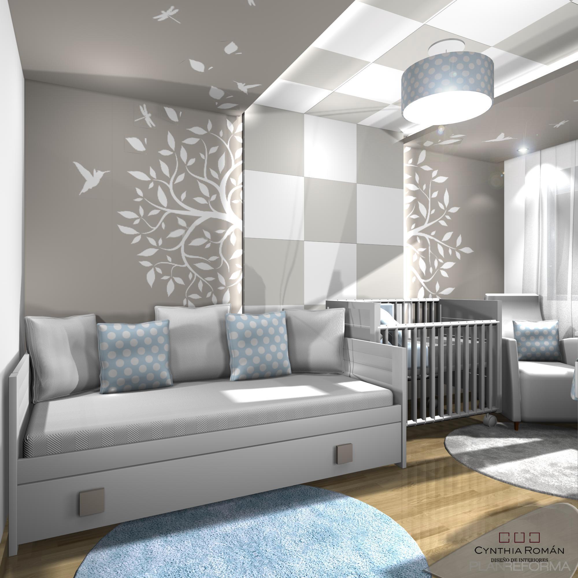 Dormitorio salon style moderno color blanco gris - Salon moderno blanco ...