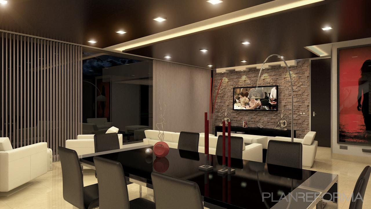 Salon style moderno color beige beige marron blanco negro - Salon moderno blanco ...