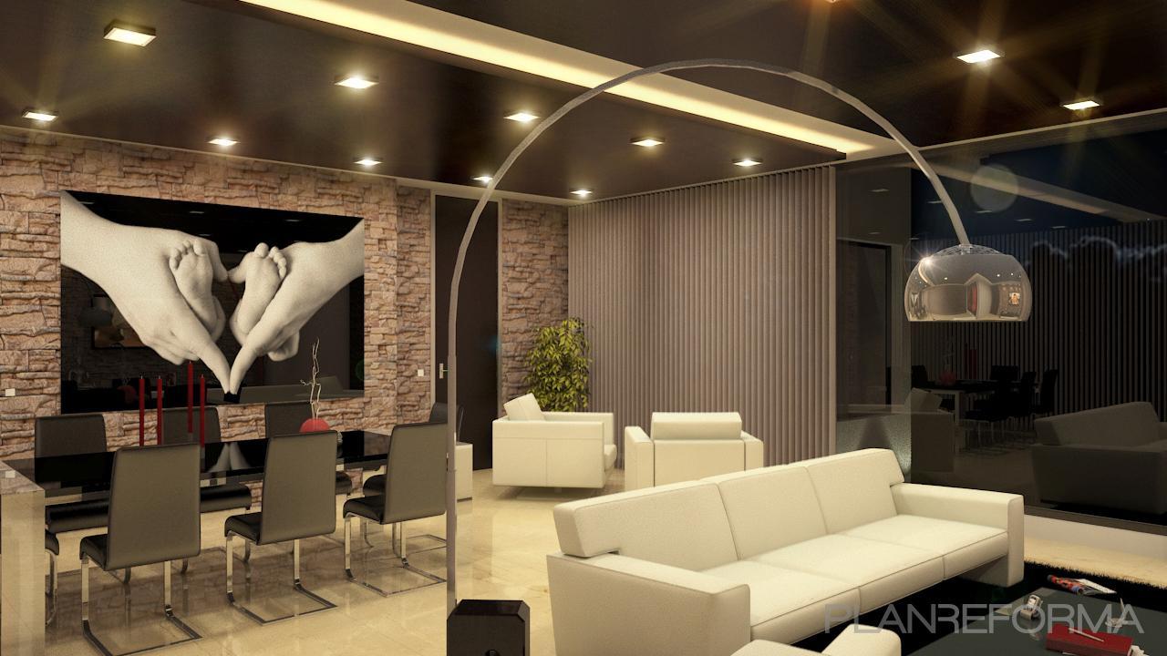 Salon style moderno color beige marron blanco negro - Salon moderno blanco ...
