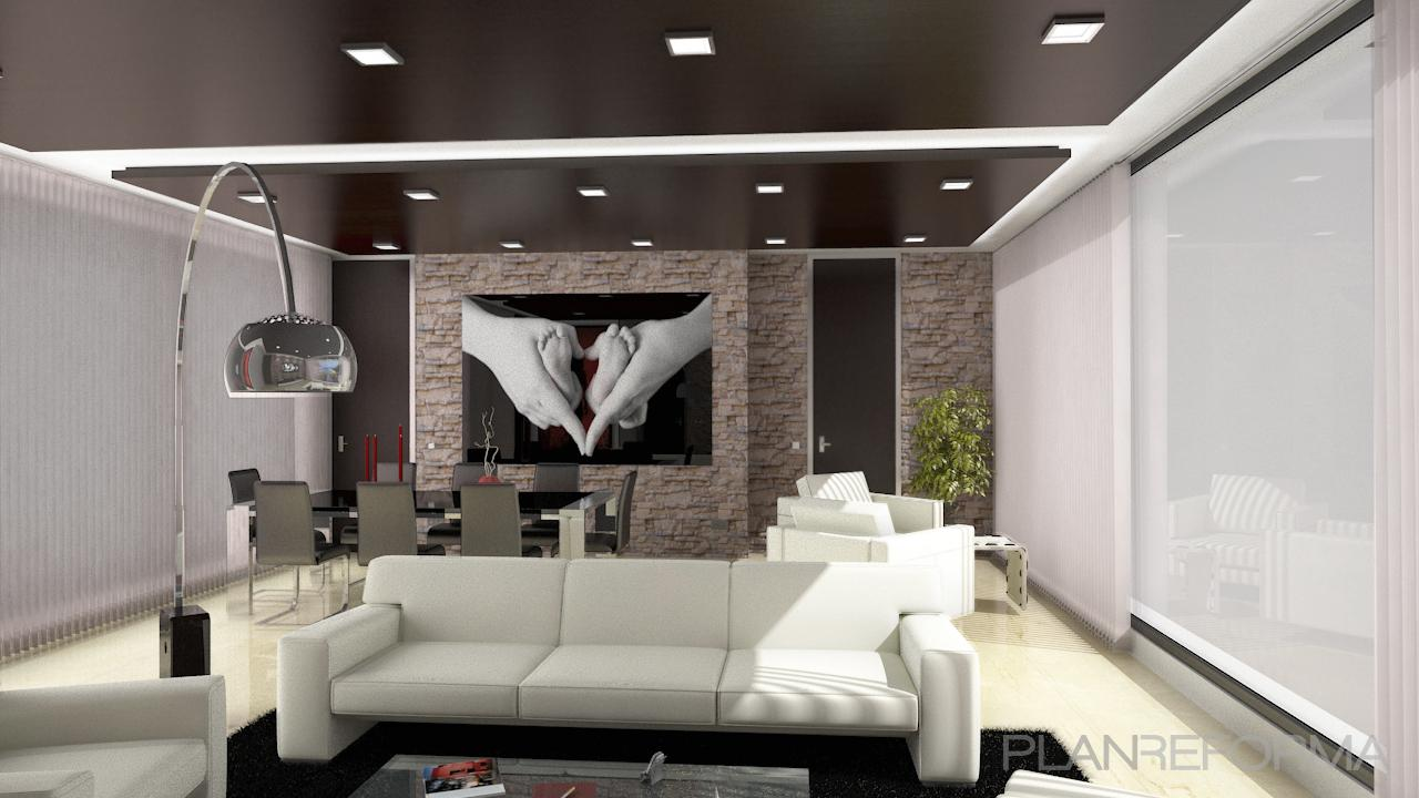 Salon style moderno color beige blanco gris gris negro - Salon moderno blanco ...