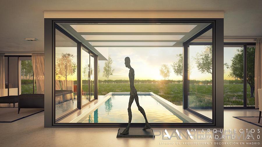 Piscina porche style moderno color blanco gris - Listado arquitectos madrid ...