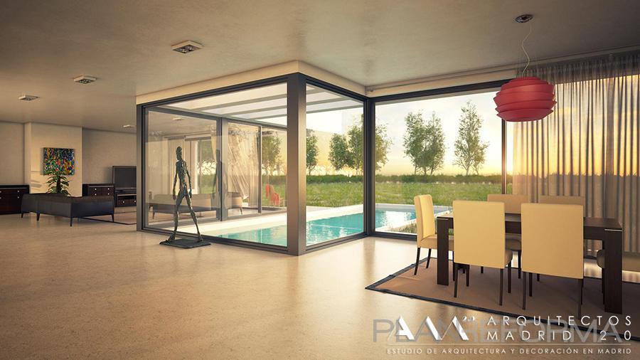 Comedor salon piscina style moderno color beige blanco gris - Listado arquitectos madrid ...