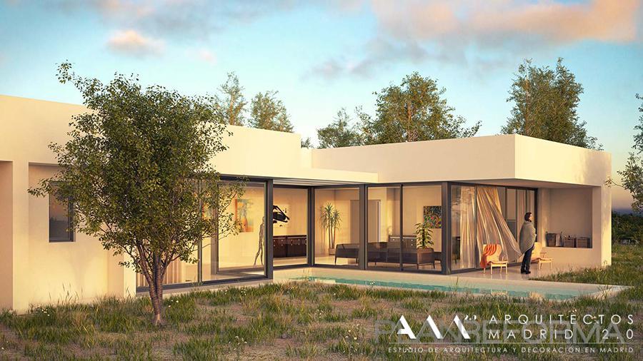Piscina porche exterior style moderno color blanco negro for Empresas constructoras de casas
