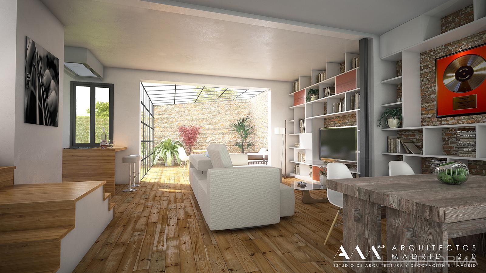 Comedor, Salon, Loft style moderno color marron, beige, marron, blanco  diseñado por Arquitectos Madrid 2.0 | Arquitecto