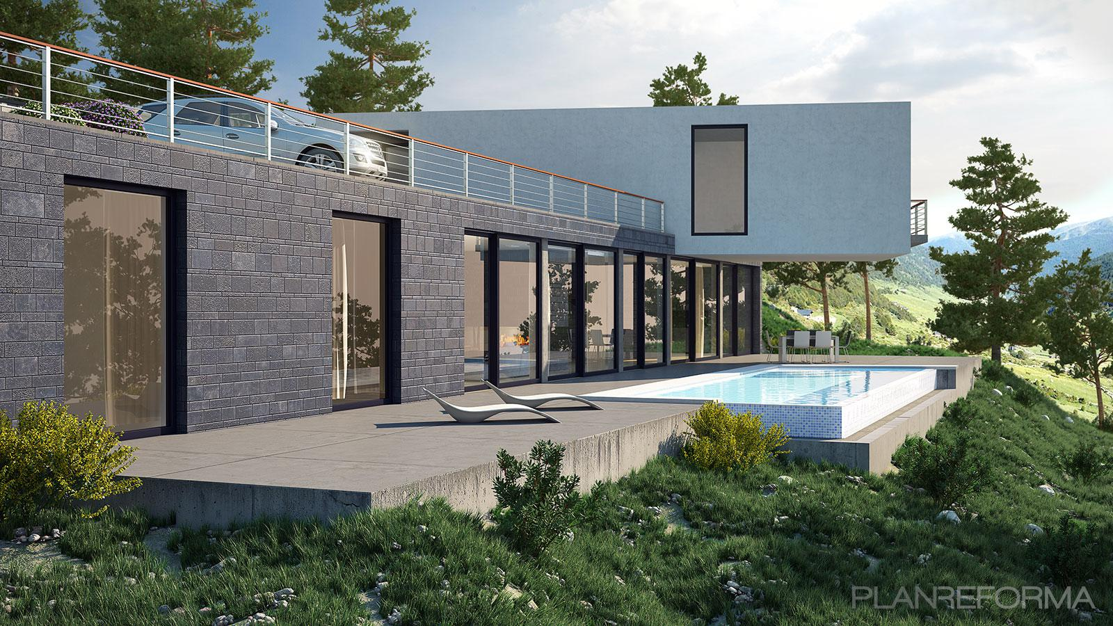 Piscina exterior jardin style moderno color gris gris negro - Listado arquitectos madrid ...