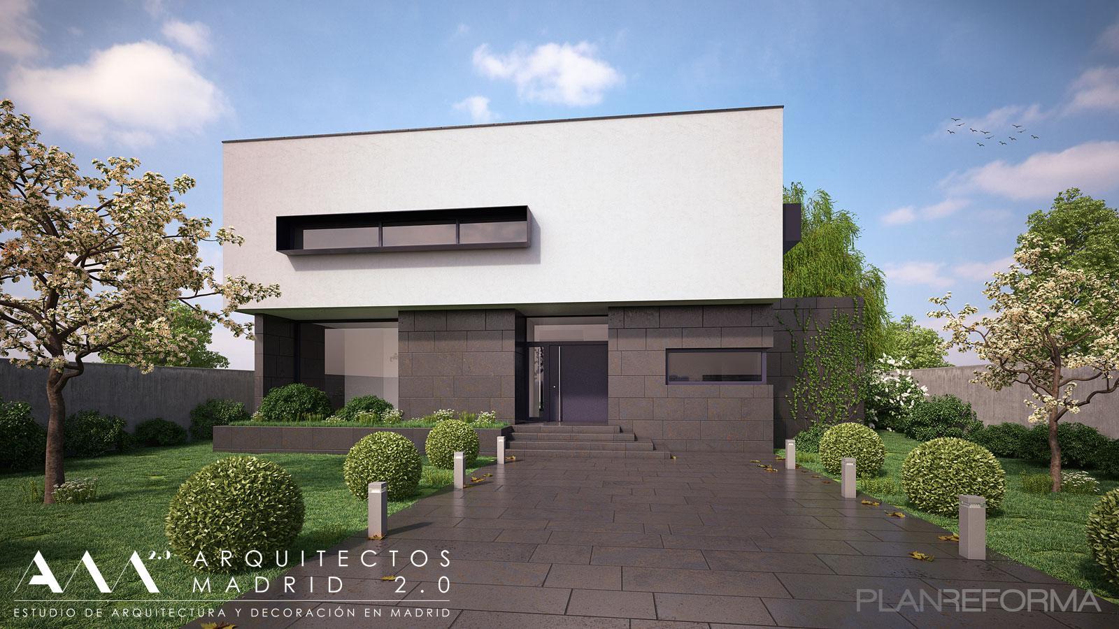 Porche exterior jardin style moderno color blanco gris negro - Listado arquitectos madrid ...