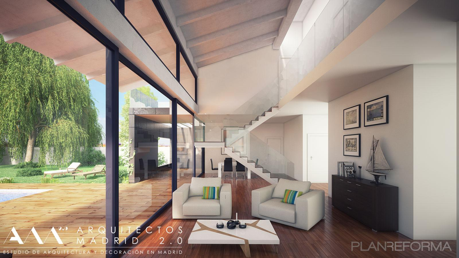 Exterior jardin loft style moderno color marron blanco - Listado arquitectos madrid ...