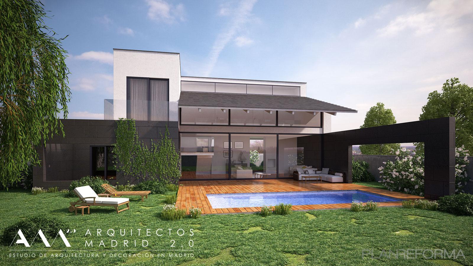 Piscina exterior jardin style moderno color marron - Listado arquitectos madrid ...