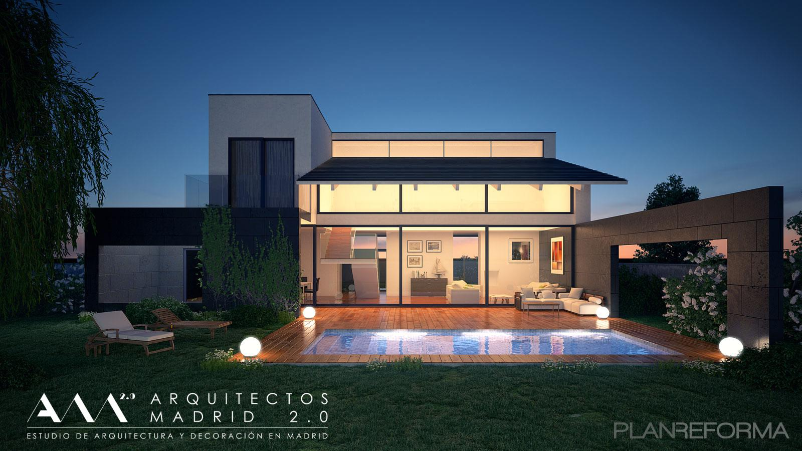 Piscina porche jardin style moderno color marron blanco - Listado arquitectos madrid ...