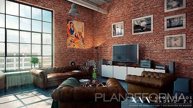 Loft style vintage color marron marron blanco gris - Listado arquitectos madrid ...