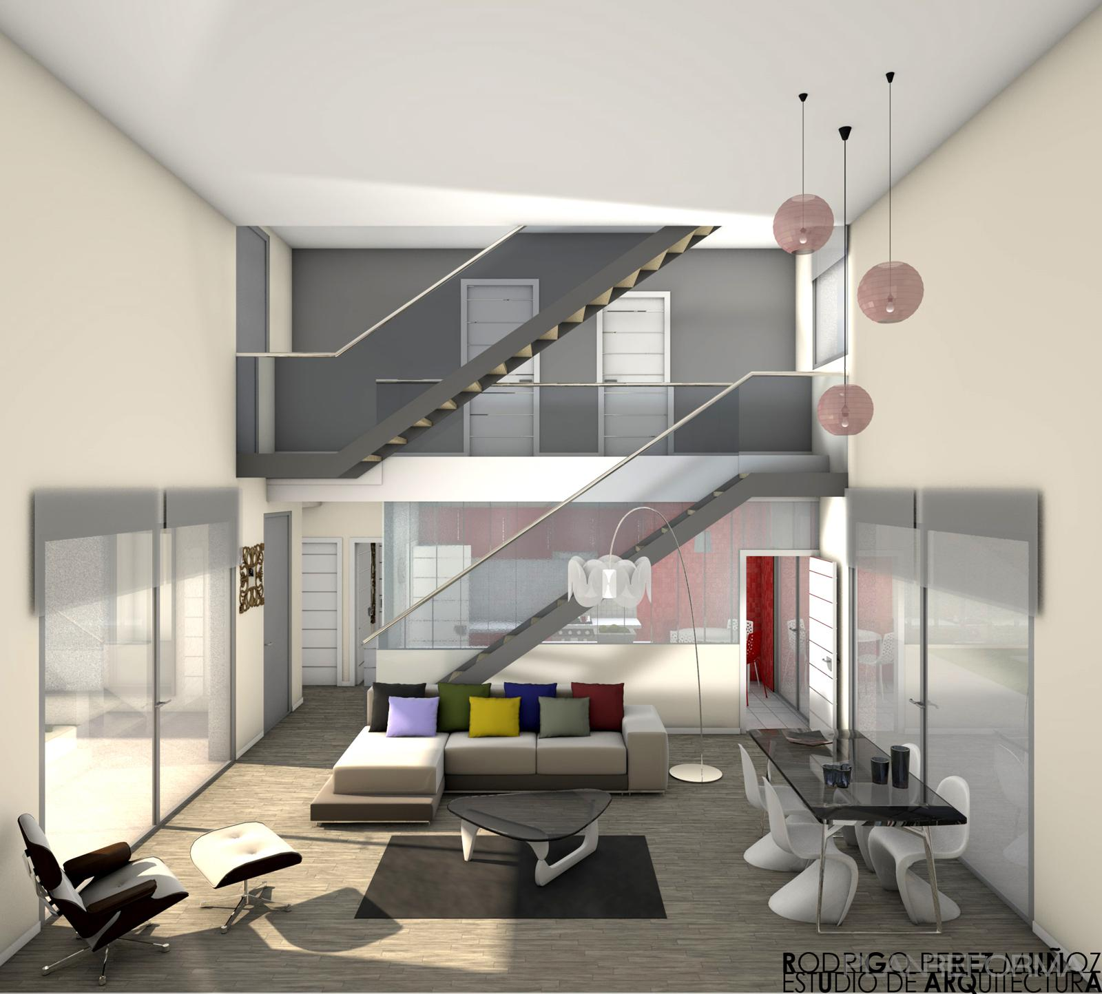 Comedor salon escalera style moderno color beige blanco for Escaleras de salon