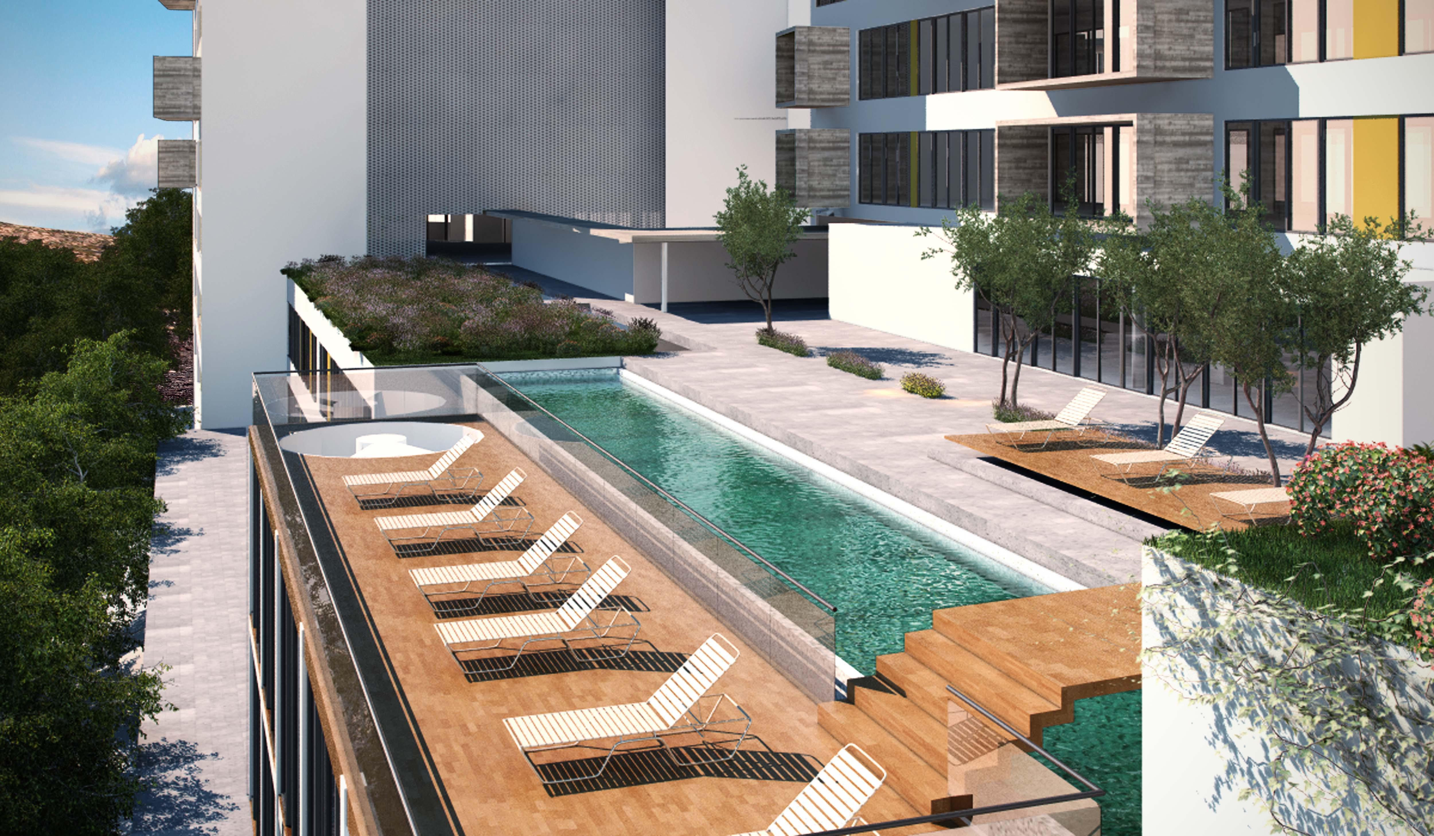 Terraza balcon piscina exterior jardin style moderno for Piscina exterior