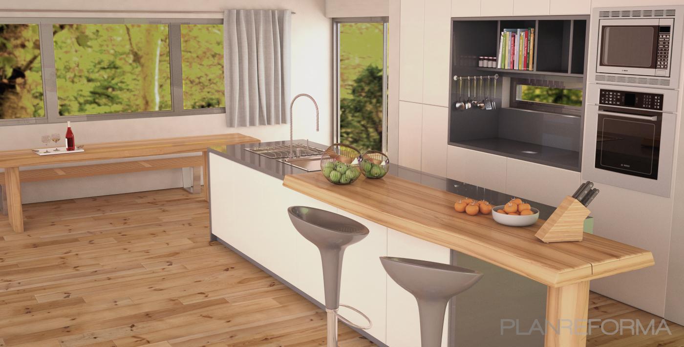 Cocina style moderno color marron blanco gris gris for Cocina 88 el cajon