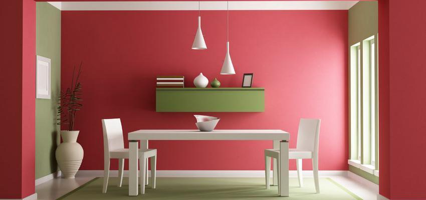 Comedor style contemporaneo color rojo, verde  diseñado por TITANLUX | Marca colaboradora | Copyright Titanlux