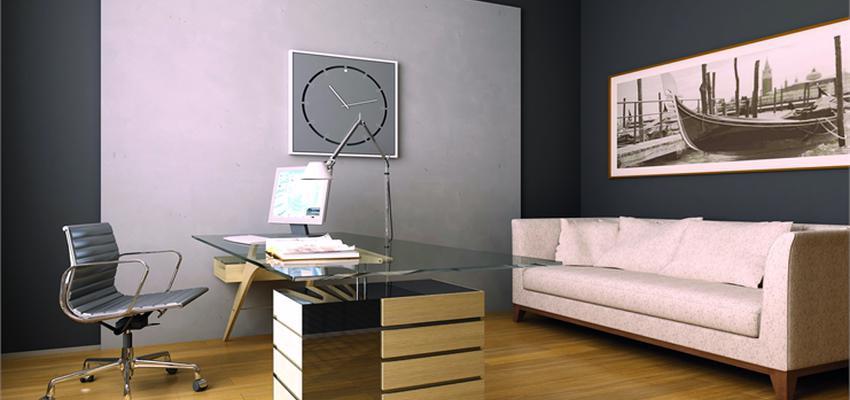 Oficina style contemporaneo color marron, amarillo, beige, gris, gris  diseñado por TITANLUX   Marca colaboradora   Copyright Titanlux
