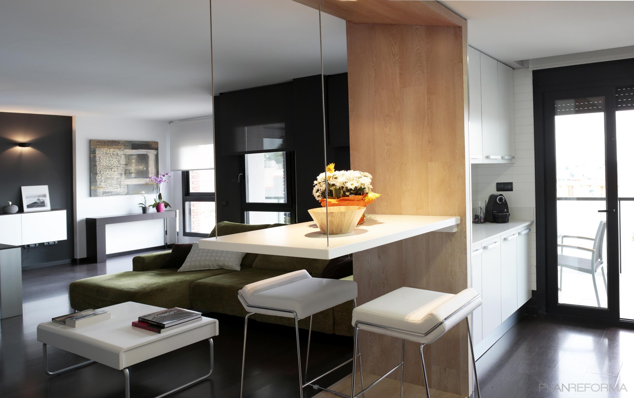 Comedor cocina style contemporaneo color marron blanco gris - Cocina comedor ideas ...