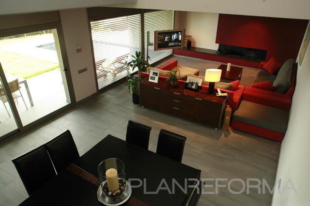 Comedor salon style moderno color rojo blanco gris - Salon moderno blanco ...