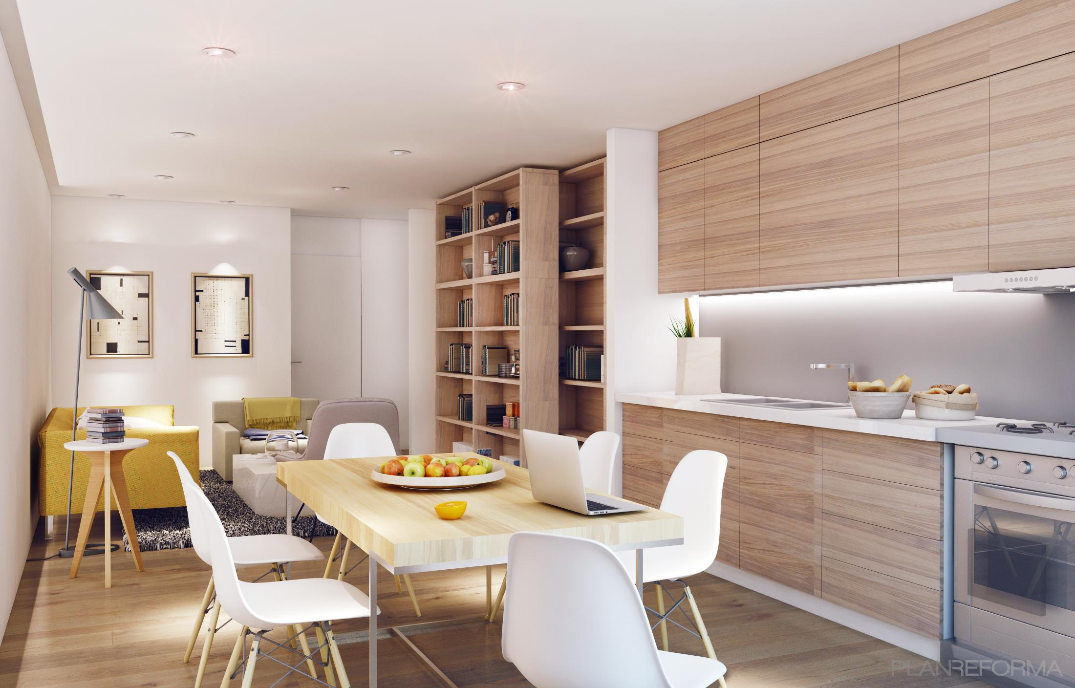 Comedor, Cocina, Salon style moderno color amarillo, marron, blanco ...