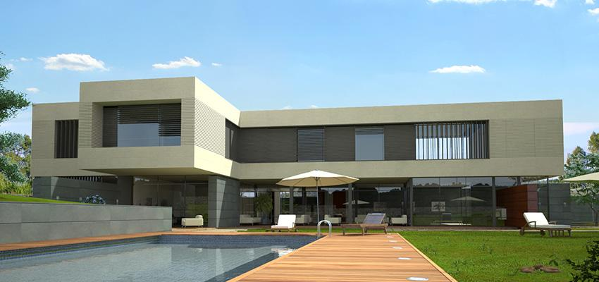 Piscina, Exterior, Galería Estilo moderno Color marron, blanco, gris  diseñado por Goko | Arquitecto