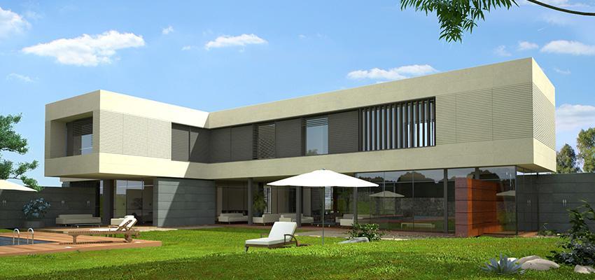 Piscina, Exterior, Galería style moderno color blanco, gris, bronce  diseñado por Goko | Arquitecto