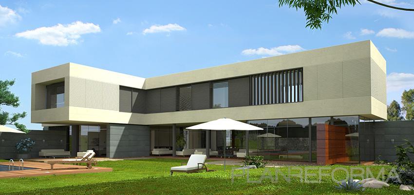 Piscina, Exterior, Galería Estilo moderno Color blanco, gris, bronce  diseñado por Goko | Arquitecto