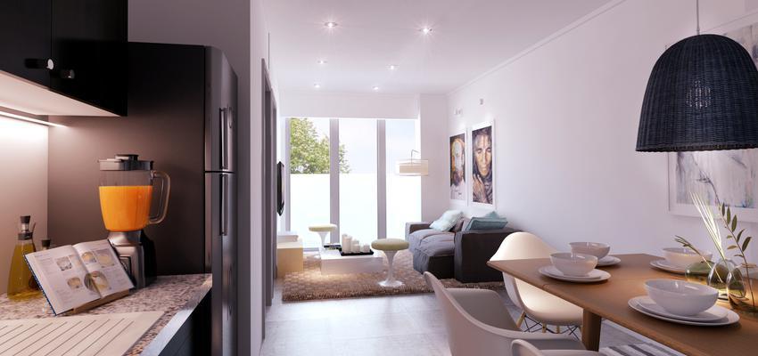 Comedor, Cocina, Salon Estilo contemporaneo Color blanco, gris, negro, bronce  diseñado por Goko | Arquitecto