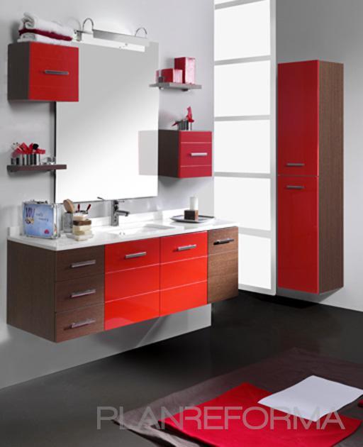 Baño style moderno color rojo, marron, blanco, gris