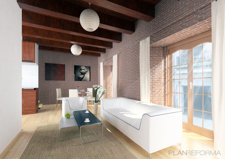Salon style moderno color marron marron blanco - Salon moderno blanco ...