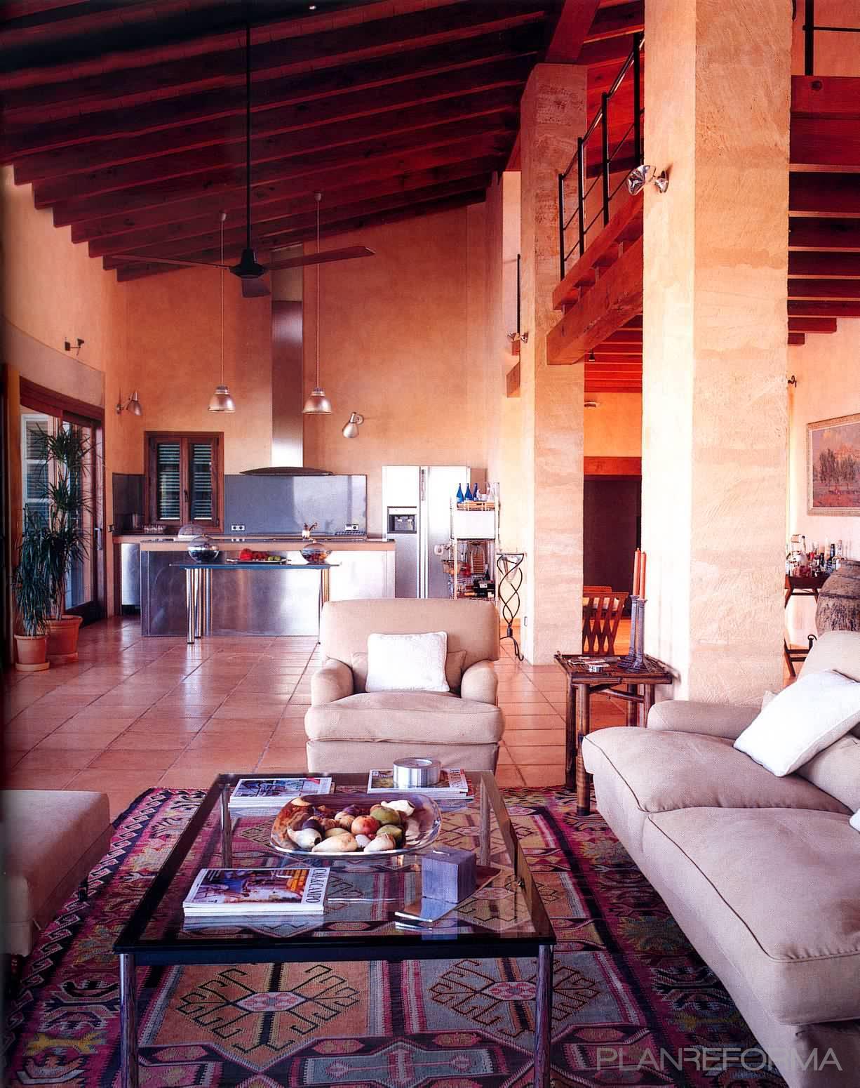 Cocina salon estilo rustico color beige marron - Salon cocina rustico ...