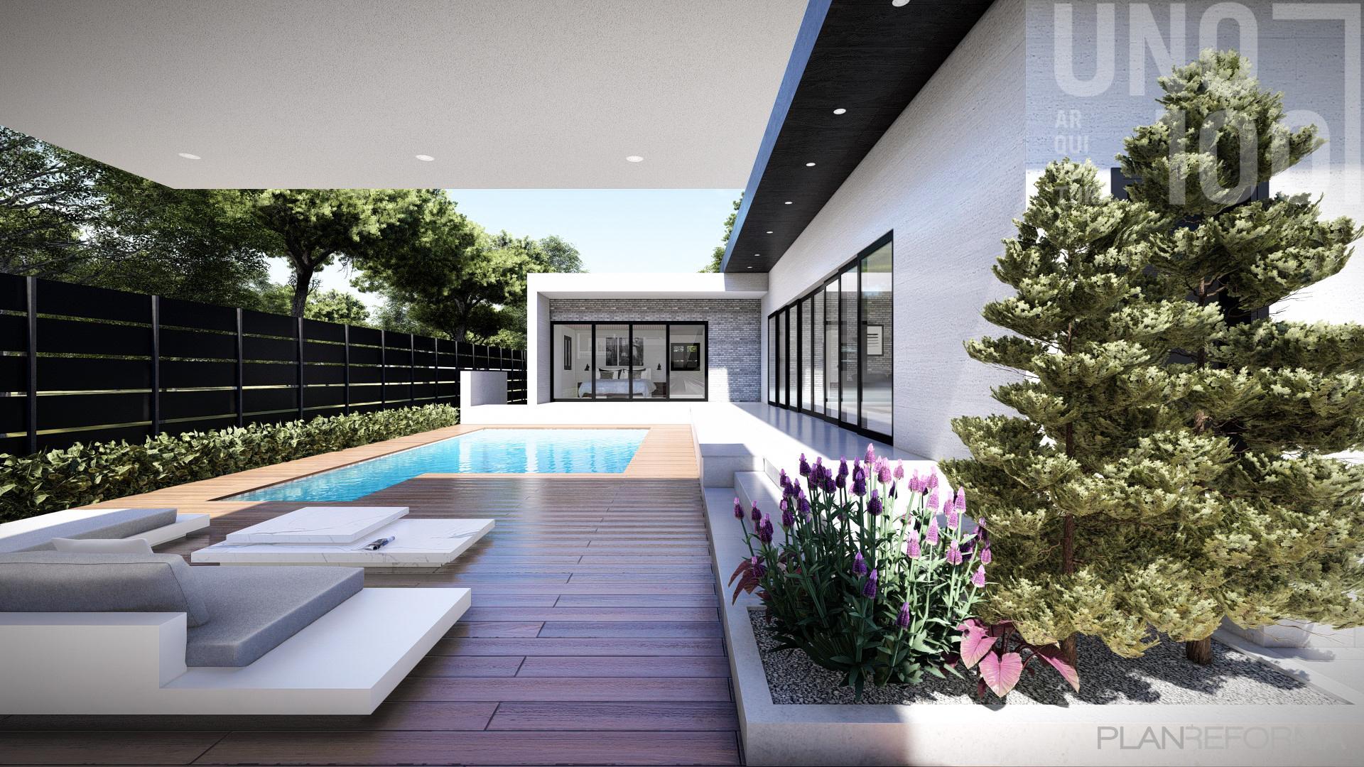 Terraza, Piscina, Exterior Estilo moderno Color verde, marron  diseñado por UNO100 Arquitectura | Arquitecto | Copyright UNO100 Arquitectura