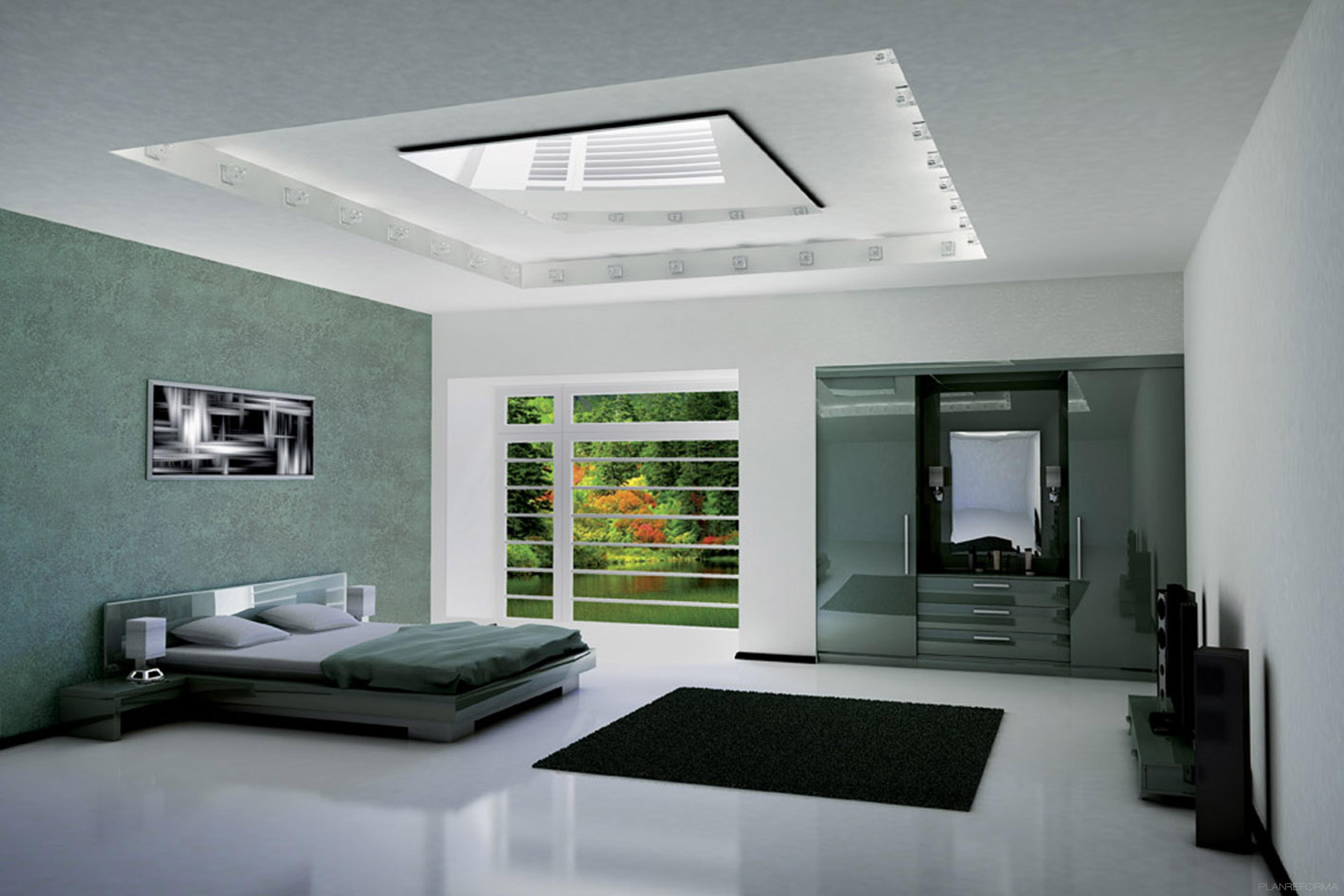 Dormitorio Oficina ~ Dormitorio style moderno color verde, gris, negro