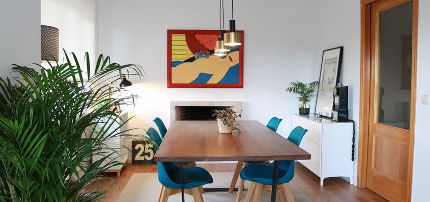 Comedor Estilo contemporaneo Color amarillo, turquesa  diseñado por The Numen Studio | Interiorista | Copyright The Numen Studio  http://thenumenstudio.com/portfolio_page/reforma-y-decoracion-en-piso-conde-de-casal-madrid/