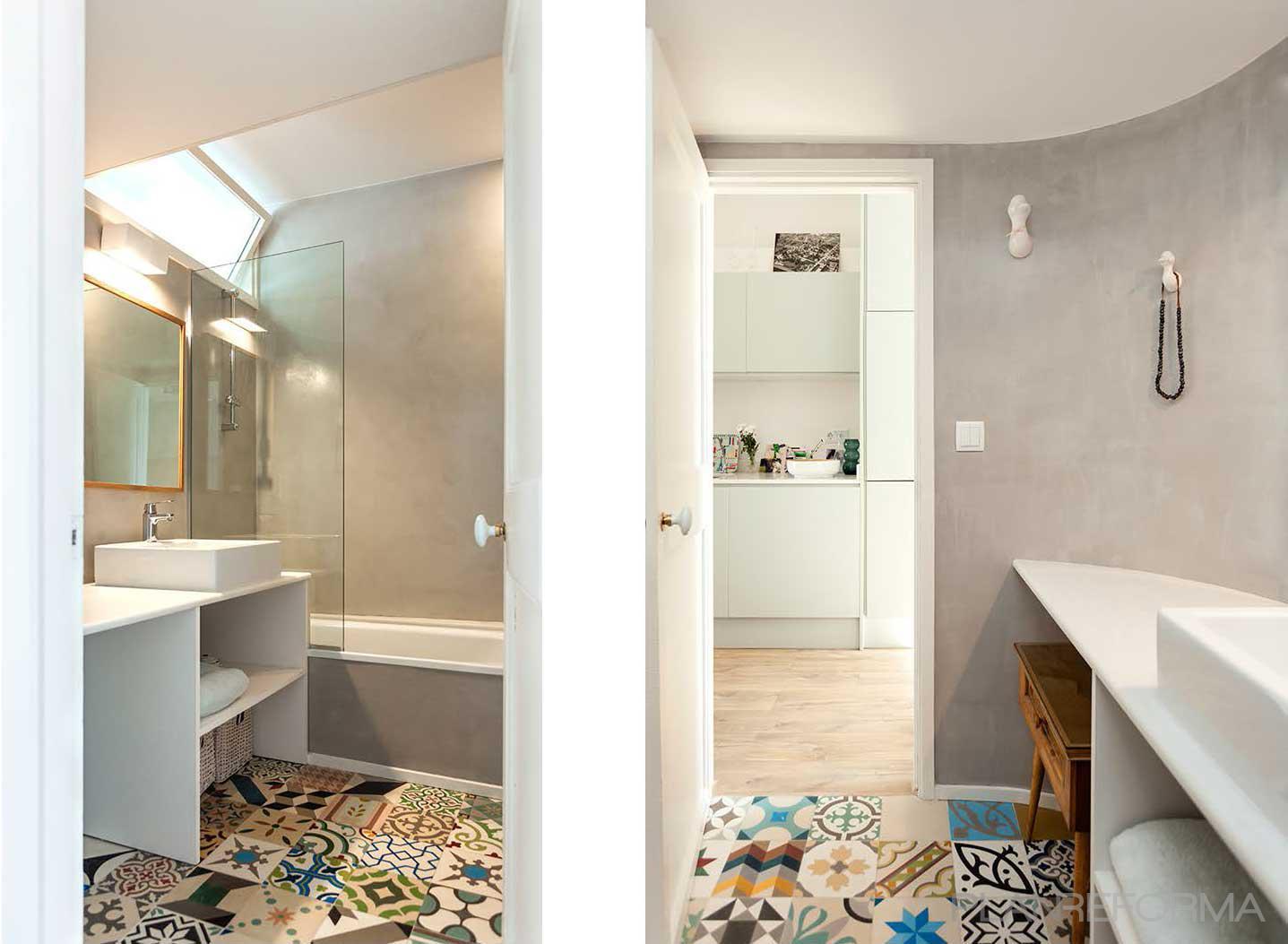 Ba o cocina style contemporaneo color azul cielo blanco - Decoracion con microcemento ...