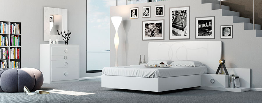 Dormitorio style contemporaneo color blanco, gris, negro