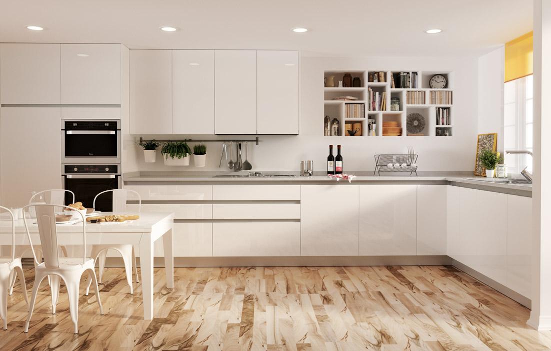 Comedor cocina style contemporaneo color beige blanco for Cocinas forlady