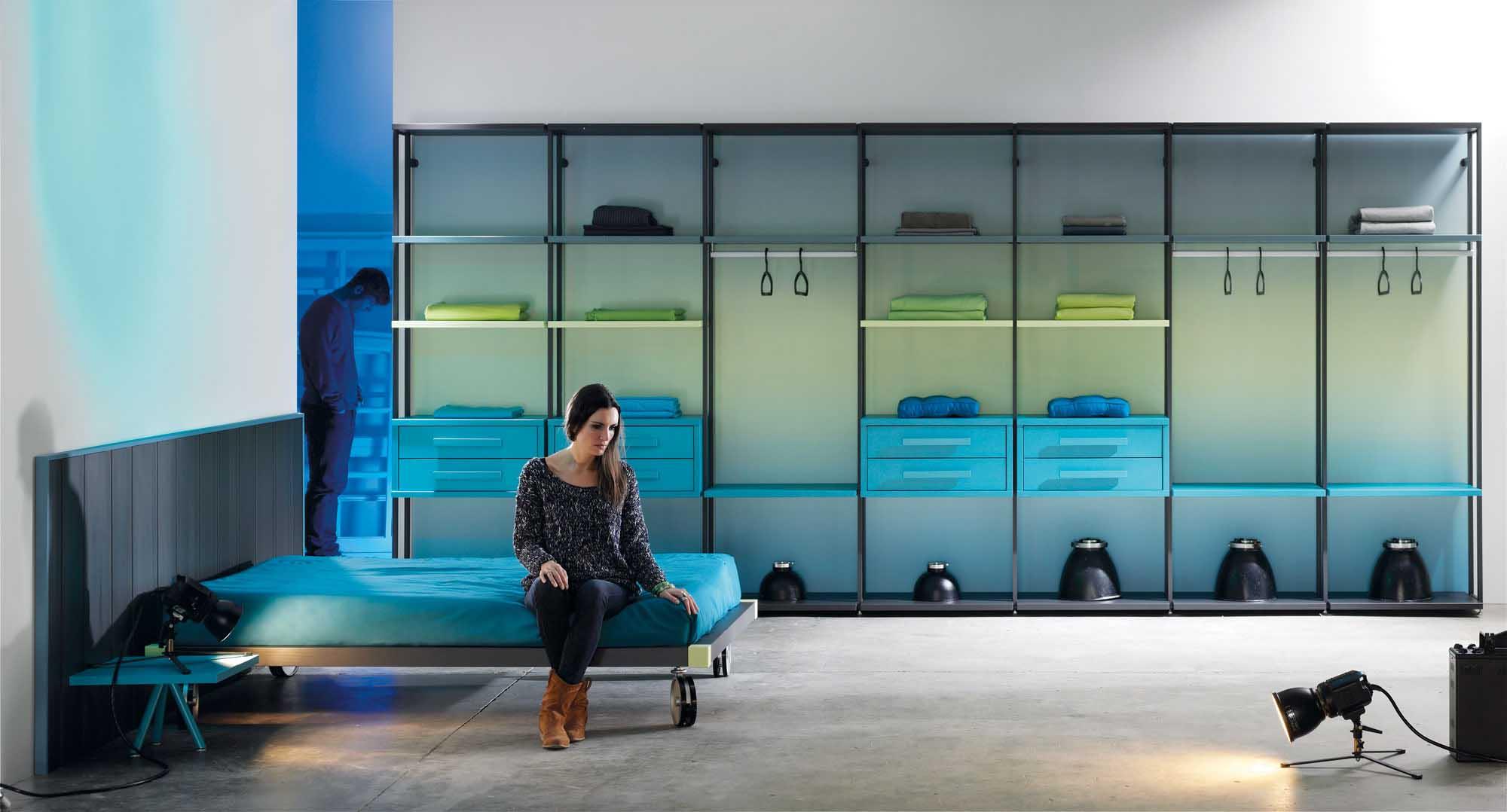 Dormitorio, Vestidor style moderno color verde, azul, negro