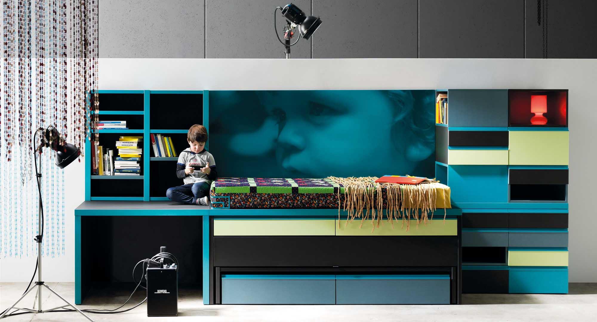Dormitorio Ni Os Style Moderno Color Amarillo Turquesa Negro # Muebles Turquesa