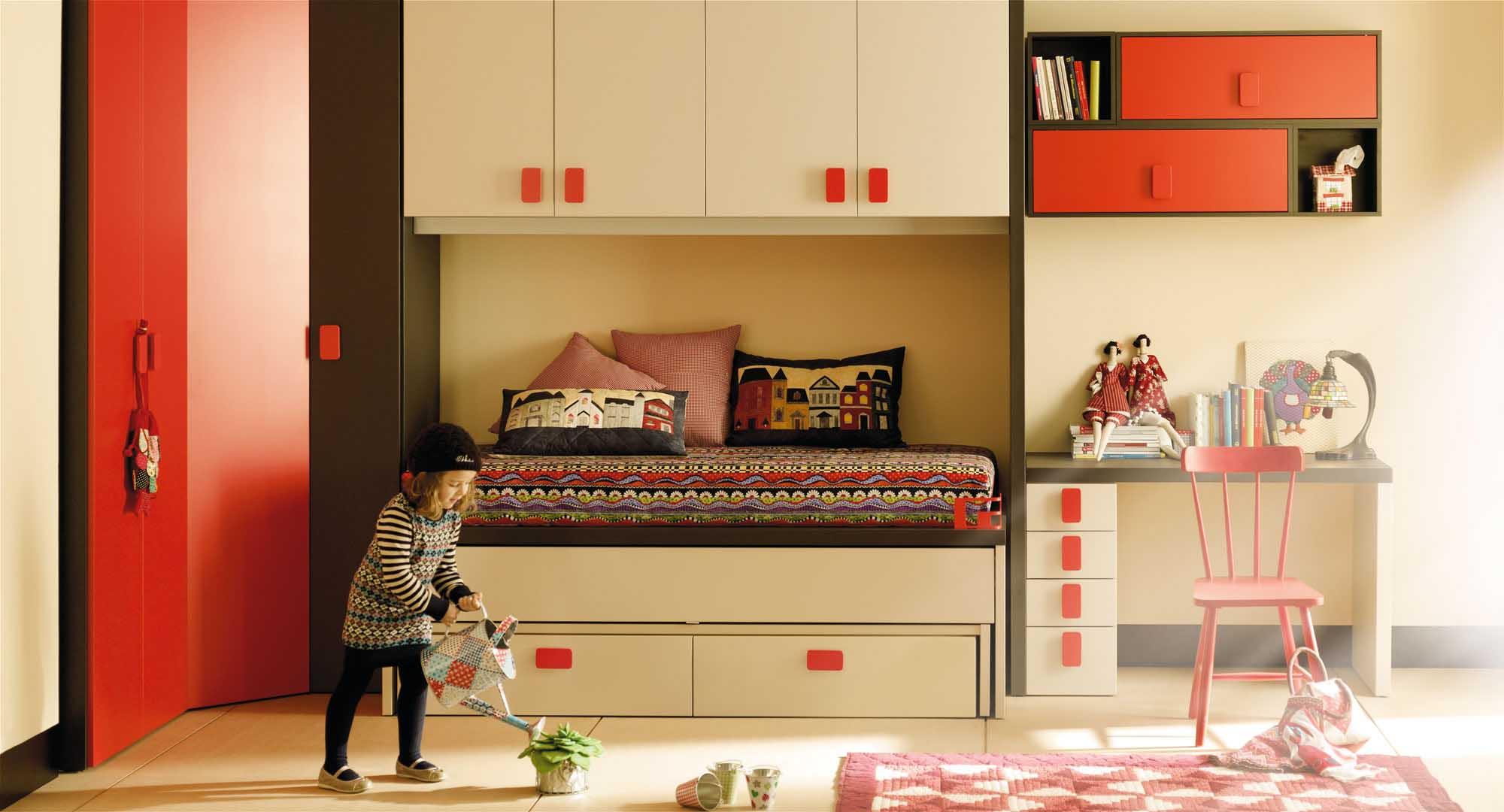 Dormitorio Ni Os Style Contemporaneo Color Rojo Beige Negro # Muebles Funcionales Para Ninos
