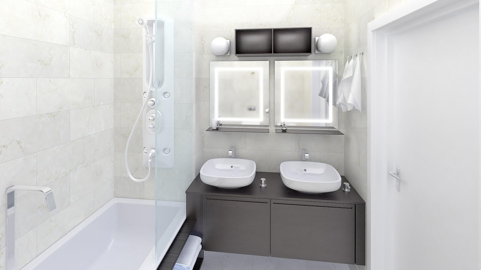Ba o style moderno color beige blanco gris - Banos en gris ...
