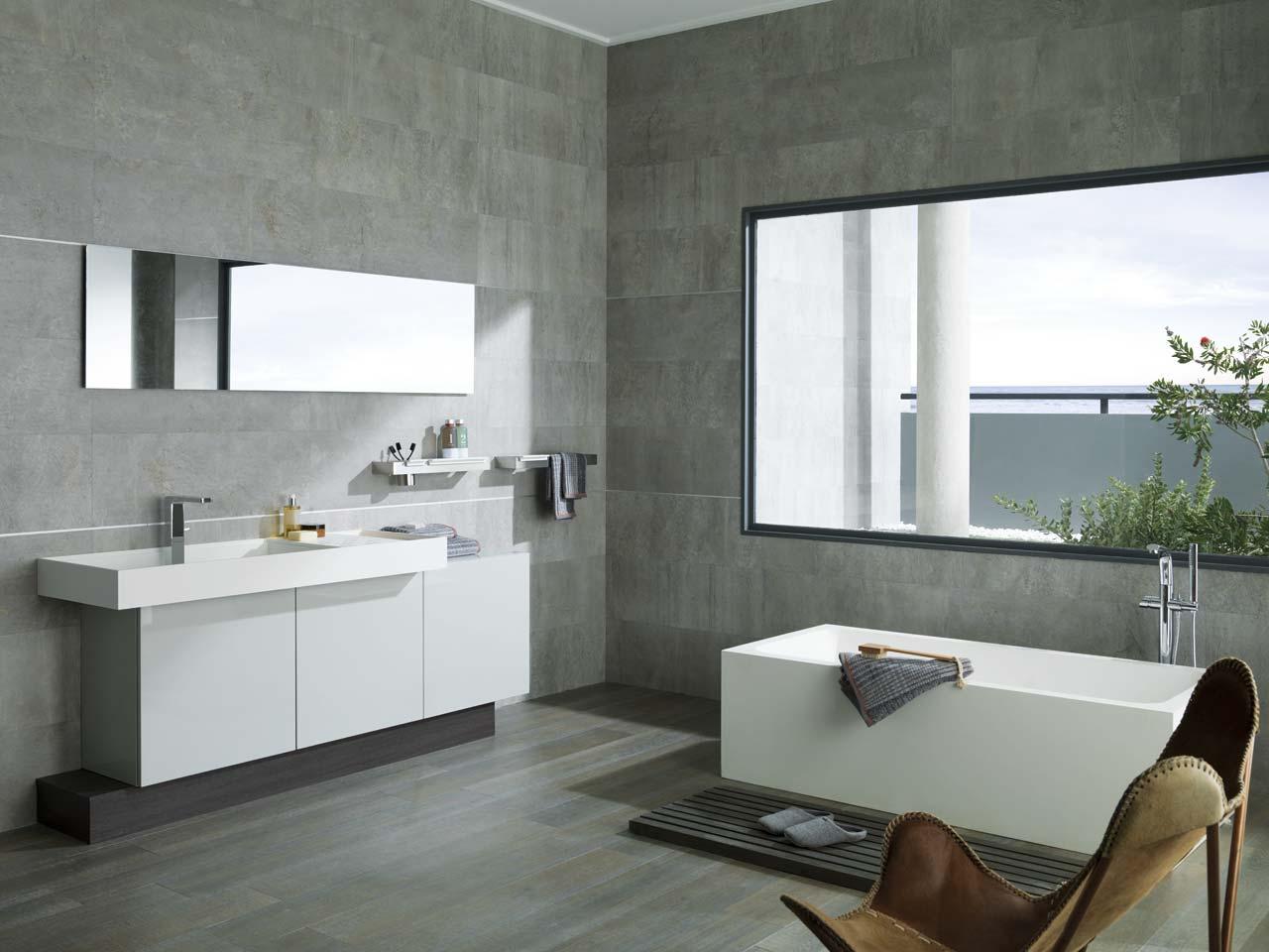 Ba o style moderno color blanco gris gris - Baldosas bano porcelanosa ...
