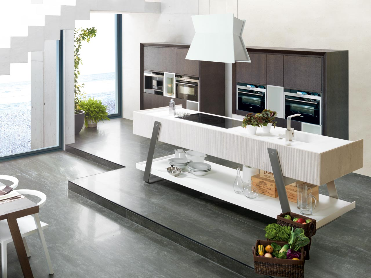 Cocina style contemporaneo color marron blanco gris for Baldosas cocina porcelanosa