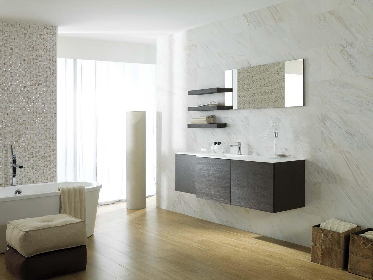 Baño style contemporaneo color marron, blanco, gris, bronce