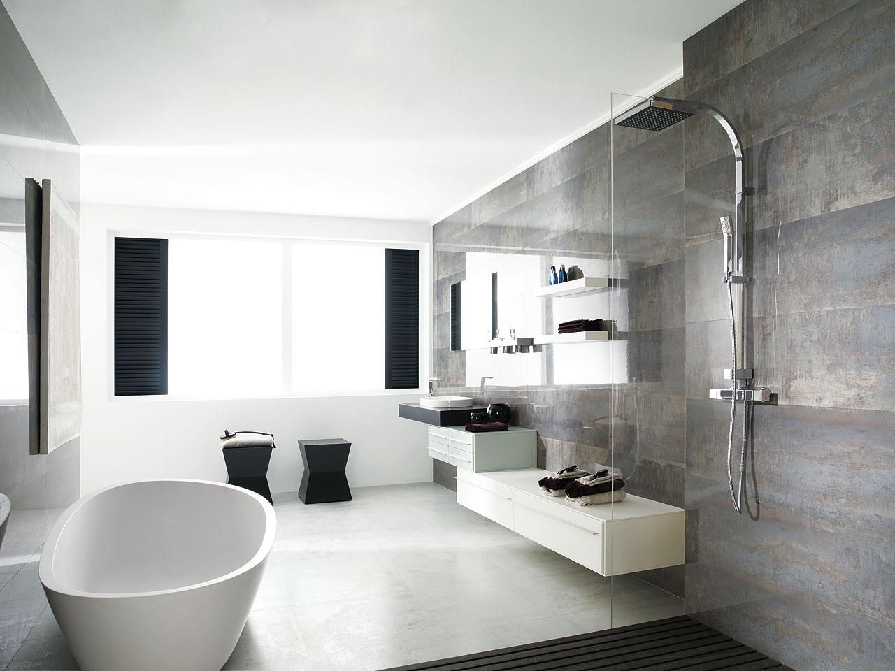 Ba o estilo contemporaneo color blanco gris gris negro - Baldosas bano porcelanosa ...